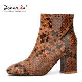 Reizvoller Schlange-Muster-goldener Reißverschluss-Retro Frauen-Knöchel-Aufladungen