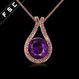 Form-runde Form-Zinn-Legierungs-Rosen-Gold überzogene Halskette