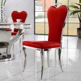 Muebles de interior Silla roja hermosa de la PU patas de metal Comedor