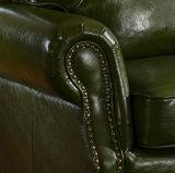Americano de la vendimia del cuero genuino sala de estar del sofá de