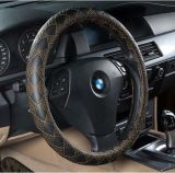 Cuoio-Argento ecologico del coperchio del volante dell'automobile