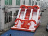 プールが付いている膨脹可能なオレンジ水スライド