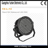 DMX512 LED Stage Lighting 72pcsx3w RGBW impermeável LED PAR Light
