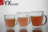 Copo de café de vidro do copo de chá do projeto do dobro parede elegante ajustada/Eco-Friendly do copo de vidro da parede Handmade do dobro do Thermos do Natal