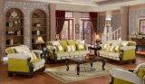A tabela clássica da cadeira americana do assento de amor da antiguidade do sofá da tela ajustou-se com frame de madeira para a sala de visitas