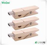 Привод вспышки USB зажима деревянный с гарантированностью 1 года как выдвиженческий подарок (WY-W47)