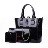 Madame réglée Designer Handbag de femme de cuir verni de sac composé de PCS du sac d'épaule d'emballage de mode 3
