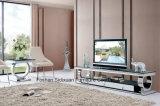 現代ステンレス鋼のガラス光沢の上TVの棚