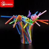 Gekleurd Elastisch Plastic Flexibel het Drinken Stro Bendy