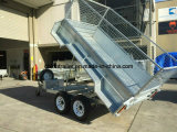 Cage를 가진 8X5FT Hot Dipped Galvanized 무겁 의무 Hydraulic Tandem Trailer