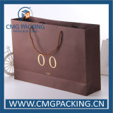 Sac de papier de luxe de Kraft avec l'estampillage d'or de clinquant (CMG-MAY-015)