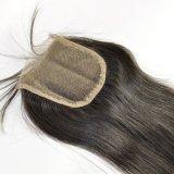 """"""" fermeture librement séparée de lacet attachée par main brésilienne de cheveu de la Vierge 18"""