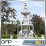 Fonte de água de pedra esculpida de mármore branco para decoração de arredores Decoração