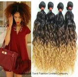 """pelo rizado del Afro 18 """" 22 """" del enrollamiento de Ombre de la extensión rizada del pelo"""