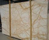 Lastre dorate naturali della giada della vena gialla