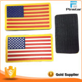 Accessoires de vêtements en caoutchouc doux Custom Made USA Flag Hook & Loop PVC Patch