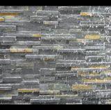 Schwarzer Wasserfall stapelte Furnier-Blatt/Ledgestone/kultivierte Schiefer-Wand-Fliese