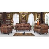 Sofà di cuoio con la Tabella di legno e la Tabella del lato (D929R)