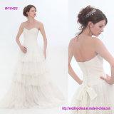 Trägerlose Tulle-Spitze und Seide-Gaze-Hochzeits-Kleid mit Spitze-Kurzschluss-Bogen