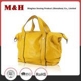 Sacs à main jaunes portatifs de cuir de femme d'achats d'emballage de grande capacité