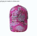 Gorra de béisbol promocional del bordado de los deportes del bordado del casquillo del algodón de encargo de Burshed