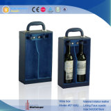 Rectángulo de regalo Zippered cartulina doble del vino de la botella del fabricante (5508R11)