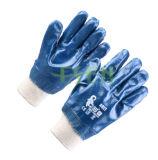 De blauwe Nitril Ondergedompelde Handschoen van het Werk van de Veiligheid van Handschoenen Industriële in China