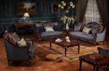 Tabella classica del tessuto del sofà dell'oggetto d'antiquariato di amore della presidenza classica della sede impostata con il blocco per grafici di legno per mobilia vivente