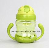 il bene durevole 280ml scherza la bottiglia bevente della bottiglia della paglia del silicone con la bottiglia di alimentazione sveglia di disegno delle maniglie
