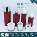 Botellas de cristal cosméticas coloreadas rojas y tarros de cristal cosméticos con precio al por mayor