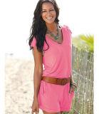 Stutzen-Sleeveless Riemen-Taschen-elastische beiläufige kurze Hose V 2017 Sommer-Frauen (17011)