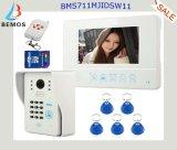 """da """" Doorbell video do telefone da porta cor 7 com cartão da identificação e de controle remoto sem fio"""