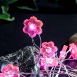 ばねのプラム花のピンク防水AAの電池式の星明かりの夜LEDクリスマスの照明