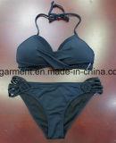 Weißer Normallackbeachwear-Bikini für Frauen-Mann/Mädchen, schwimmende Abnützung