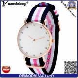 Reloj de nylon clásico Japón de la correa de la mujer Yxl-224 del cuarzo del reloj del diamante de Dail de la marca de fábrica ocasional ultra delgada de las señoras Relojes 2016 Mujer