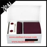 Laço do Mens do presente da venda por atacado 100% e jogos tecidos de seda dos botão de punho