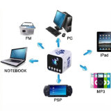 Mini altofalante portátil com o rádio do jogador de MP3 FM da música da movimentação do flash do USB e do cartão do TF