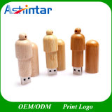 A sustentação gravou a movimentação de madeira dada forma comprimido do flash do USB da vara do USB do logotipo