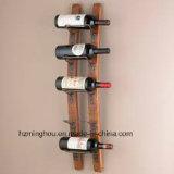 Entreposage en verni bouteille de vin en bois de pin avec l'intérieur de meubles de modèle de crémaillère de vin de mur de support de fer de moulage 9