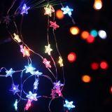 Luz feericamente do Dewdrop do diodo emissor de luz da forma da estrela no branco morno 4.5 V