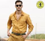 남자를 위한 긴 소매 플랩 포켓 화물 디자이너 셔츠