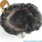 ToupeeのまわりのPUが付いているインドの人間の毛髪のスイスのレース