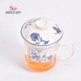 Escritório e copo de chá Home da flor, filtro cerâmico e liga do copo do vidro de Borosilicate, copos de chá de vidro com tampa