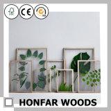 Frame de retrato de madeira contratante do frame do gancho da decoração da parede