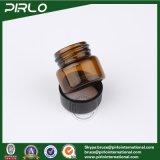 tubo de ensaio de vidro pequeno da cor 5ml ambarina com o frasco de vidro cosmético vazio preto de frasco de vidro do verificador do perfume do petróleo essencial da tampa do parafuso