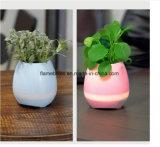 Flowerpot esperto da música com altofalante de Bluetooth e lâmpada do diodo emissor de luz