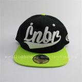 Chapéu verde do tampão do Snapback do bordado 3D da fluorescência