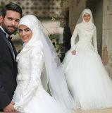 Chemises blanches de mousseline les pleines ont couvert la robe de mariage arrière de Tulle de lacet de ceinture