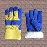 Голубая перчатка ладони Split кожи коровы с задней частью хлопка