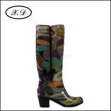 Высокий верхний ботинок PVC дождя для женщин (BX-048)